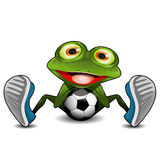Frog Sitting with a Soccer Ball Royalty Free Stock Photography