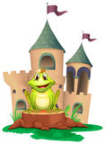 A frog sitting at the wood with a castle at the back Royalty Free Stock Image