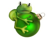 Frog sitting on xmas ball Stock Photo