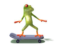 Frog on a skateboard Royalty Free Stock Images