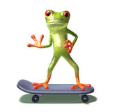 Frog on a skateboard Royalty Free Stock Photography