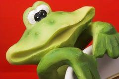 Frog smile. Having coffee Stock Photography