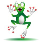 Frog Smiling Happy and Jumping. Fun, Smiling and Happy Jumping Frog cartoon Character, created on Vector Graphic Art Technique. Copyright BluedarkArt Royalty Free Stock Images
