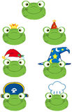 Frog Smiling Heads Collection Royalty Free Stock Images