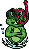 Frog Snorkeling Cartoon Royalty Free Stock Image