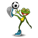 Frog with a Soccer Ball Stock Photography