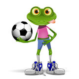 Frog soccer player. Illustration merry soccer player frog with ball Stock Photography