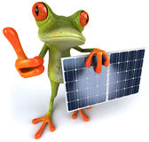 Frog with solar panels. Cute little frog, 3D generated vector illustration