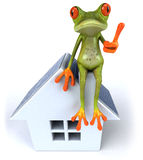 Frog with solar panels Stock Photos
