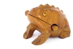 Frog souvenir. Wood frog souvenir Object with clipping path Stock Photos