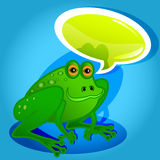 Frog with speech bubble Stock Images