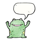 frog with speech bubble cartoon Stock Photo