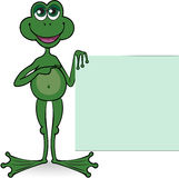 Frog with a square banner Stock Images