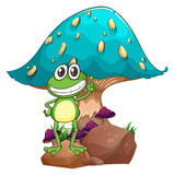 A frog standing above the rock below the giant mushroom. Illustration of a frog standing above the rock below the giant mushroom on a white background Royalty Free Stock Image