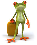 Frog and suitcase. 3d generated picture Royalty Free Stock Photography