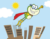Frog Superhero Cartoon Character Flying Over The City Stock Photos