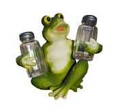 Frog for support. Support frog for salt and pepper Royalty Free Stock Image