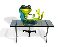 Frog at a table with coffee Royalty Free Stock Photography