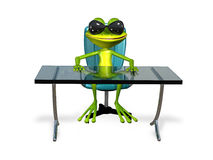 Frog at the table Royalty Free Stock Image