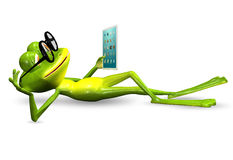 Frog with tablet Stock Image