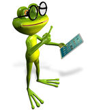 Frog with tablet Royalty Free Stock Image