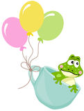 Frog in teacup with balloons. Scalable vectorial image representing a frog in teacup with balloons, isolated on white Royalty Free Stock Photo