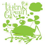 Frog with think green title. Funny frog with think green title and clover Royalty Free Stock Image