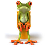 Frog and toilets. Cute little frog , 3D generated Stock Photo