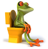 Frog and toilets. Cute little frog , 3D generated vector illustration