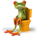 Frog and toilets. Cute little frog , 3D generated Royalty Free Stock Photo