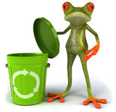 Frog with a trash can. Cute little frog , 3D generated picture Royalty Free Stock Photography