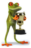 Frog with a trophy Stock Photography