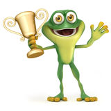 Frog with trophy stock illustration