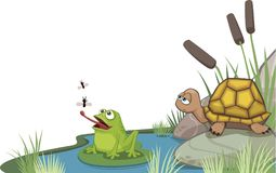 Frog and turtle at the pond corner design. Vector illustration of a frog and turtle sitting at the pond with flies. Corner design that can easily be edited. All stock illustration