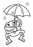 Frog and umbrella, coloring Stock Images