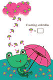 Frog umbrella counting card Stock Photos