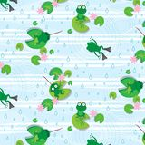 Frog seamless pattern vector illustration