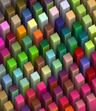 Frog view 3d beveled cubes in bright colors. Frog view 3d render of beveled cubes in multiple bright colors Royalty Free Stock Images