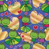 Frog waiting love seamless pattern Stock Image