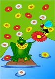 Frog and wasp. Frog wasp water flowers nature green blue royalty free illustration