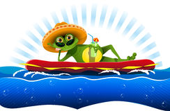 Frog on a water mattress Royalty Free Stock Photo