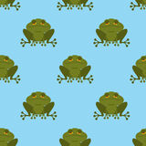 Frog in water seamless pattern. Blue Lake and Green Toad. Textur Stock Photos