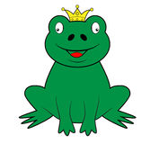 Frog wearing a crown Stock Images