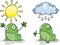 Frog Weather. Set of two funny green frogs Weather Stock Photo