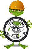 Frog and the wheel Stock Images