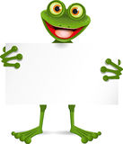 Frog with a white plate Royalty Free Stock Photos
