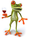 Frog and wine Royalty Free Stock Photography