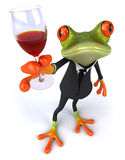 Frog and wine Stock Photography