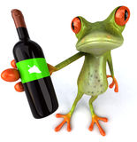 Frog with wine Royalty Free Stock Image
