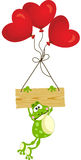 Frog with wooden sign and heart balloons Royalty Free Stock Images
